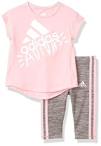 adidas Girls' Little Short Sleeve Sporty Top & Capri Legging Clothing Set, Light Pink, 5