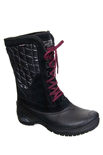 The North Face Women's Thermoball Utility Mid Insulated Boot - TNF Black/Deep Garnet Red - 8.5