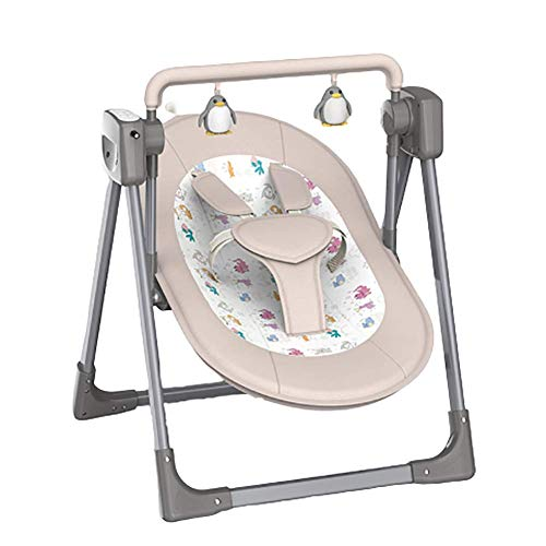 LISI Electric Baby Bouncer Chair Bluetooth Remote Control Music Play with 5 Swinging Amplitudes and 3 Timing Function for Newborn 0-12 Months,Beige