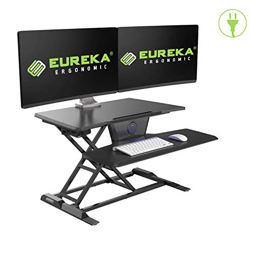 EUREKA ERGONOMIC Electric Standing Desk Converter, 31'W Sit to Stand Desk Riser, Tabletop Computer Workstation to Support Dual Monitors, Smooth & Silent Height Adjustment, Black