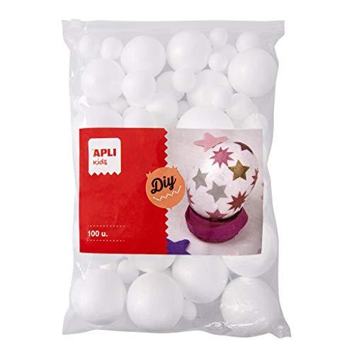 APLI Kids 17456 - Sachet de 100 boules en Polystyrene de diametres Assortis