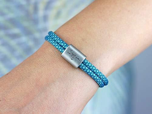 KOMIMAR Surfer Armband Gravur Armband für Verliebte - Name mit Symbol Gravur in vielen Farben - Schmuck personalisiert - Geschenkidee - Jahrestag - Partnerarmband - Liebe - Anker
