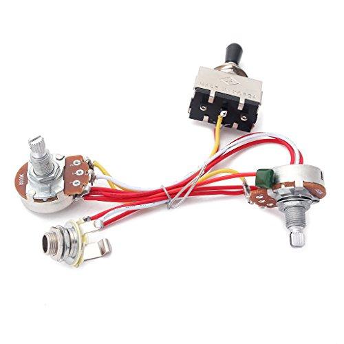 Arnés Cableado Conjunto 3 Vías Interruptores de Palanca 500K Piezas para Guitarras Eléctricas