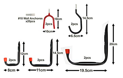 10x Wall-Mounted Garage Hooks - 30pc Assortment Set for Home Use Hanging & Storing Tools Bikes Ladders Garden and Cleaning Equipment in Garages House