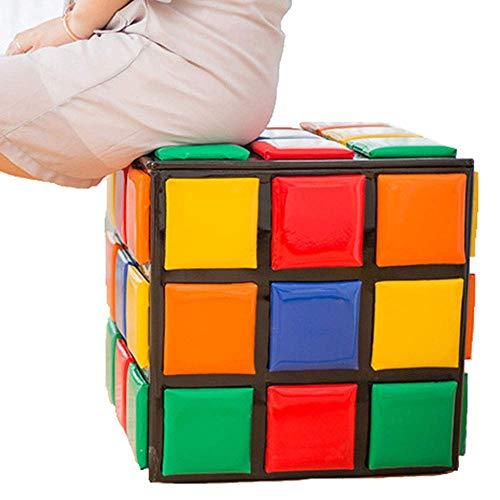 XWYDZ Interesante de Rubik Cubo de heces Escabel, almacenable Sofá heces Cambio Banco de Zapatos de Madera Maciza, Habitación Sala XWY-6D8Z3 (tamaño : 42cmx42cm)