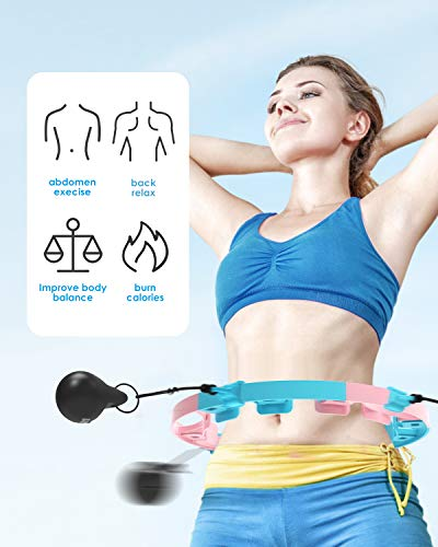 Utry Weighted Hula Hoops for Adults Exercise, Hula Hoop With Weight Ball, Adjustable weight, Abdomen Fitness, Adjustable Size Suitable for Adult Youth Children, Weight Loss, 360°Auto-Spinning