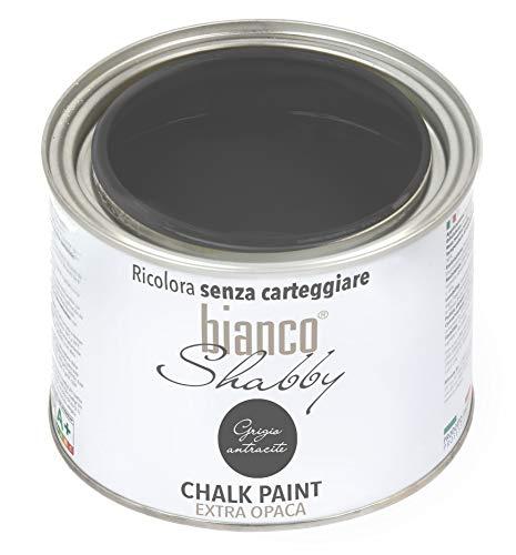 CHALK PAINT Grigio Antracite Pittura Shabby Chic Vintage per Mobili e Pareti EXTRA OPACO (500 ml)