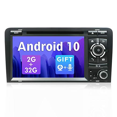 SXAUTO Android 10 Autoradio Compatibile con Audi A3 (2003-2011)- [2G/32G] - 2 Din - GratuitiTelecamera Posteriore & Canbus - Supporto DAB 4G WiFi Bluetooth5.0 Volante MirrorLink Carpaly - 7 Pollici