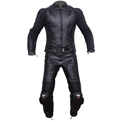 COMPILO Traje de moto cuero 2 Piezas negro