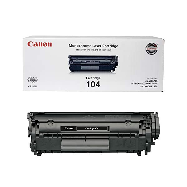 Canon Genuine Toner, Cartridge 104 Black (0263B001), 1 Pack, for Canon imageCLASS D420, D480, MF4150d, MF4270dn, MF4350d, MF4370dn, MF4690 Laser Printers and FAXPHONE L120, L90