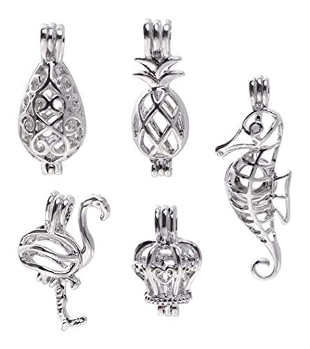 LIXBD 5 abalorios antiguos de aleación surtidos encanto hueco piña colgante flamenco encantos hechos a mano collar pulsera accesorios para bricolaje artesanía fabricación de joyas