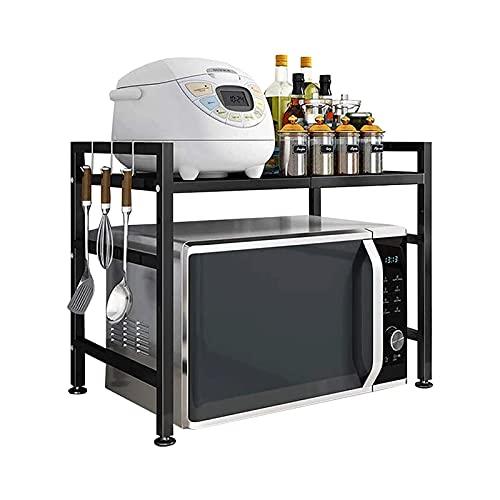DyAn Estante para microondas de acero al carbono, estante para microondas expandible, 2 niveles para ahorrar espacio y organizador para encimeras de cocina con 3 ganchos, color negro H tipo