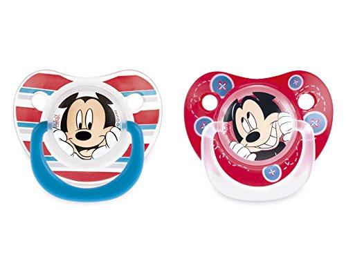 Lulabi Disney Mickey, Set 2 Succhietti in Silicone, 6+ mesi, Azzurro