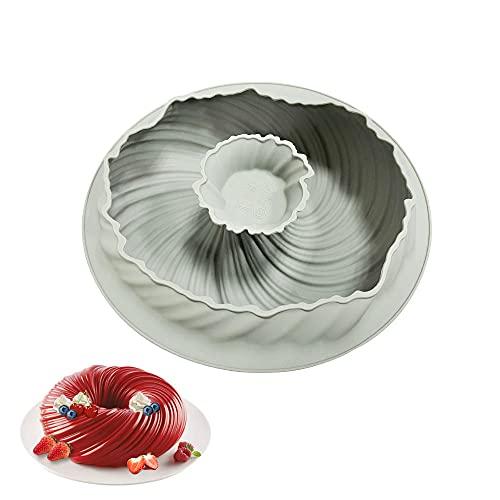 Gugelhupfform Silikon, Silikon Backform Gugelhupf, Premium Qualität Gugelhupf Backform, Spirale Form Kuchenbackform, Spiralkuchen Backform zum Backen Dessert Mousse Backformen Spiralkuchen