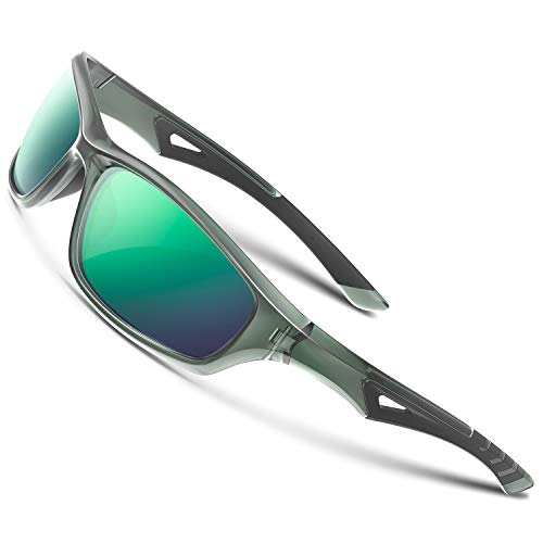 RIVBOS Polarized Sports Sunglasses Driving Glasses shades for Men Women Tr90 Frame for Cycling Baseball Running RB842-Gray&Green