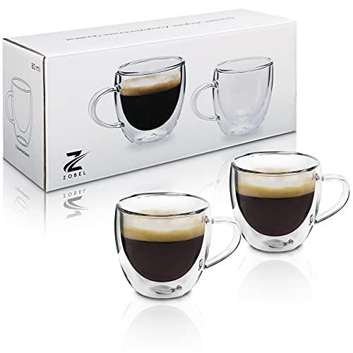 Zobel Espressotassen 80ml | 2er Set doppelwandige Espressogläser aus hochwertigem Borosilikat-Glas | Doppelwandig und spülmaschinenfest