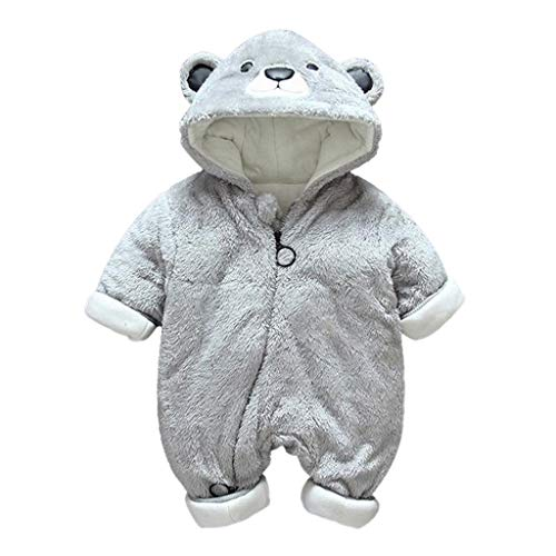 iLOOSKR 0-18M Newborn Baby Boys Girls Lovely Little Bear Dress Up Romper Jumpsuit Warm Plush Outfits Clothes Gray