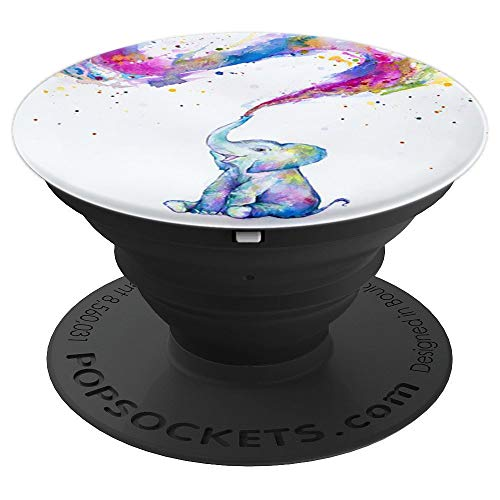 Cute Baby Elephant Watercolor Rainbow Drawing Phone Grip PopSockets Grip and Stand for Phones and Tablets