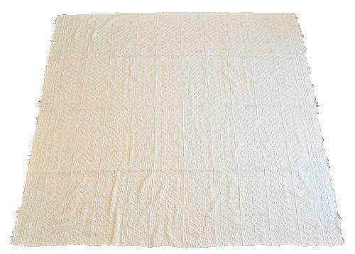 インド綿 ラグ ラグマット 生成り ht104 w207 (波模様, 200×200cm)