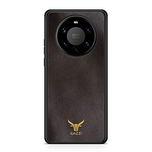 GAZZI Lederhülle für Huawei Mate 40 PRO Hülle Hülle Schale Backcover Handyhülle Schutzhülle Echt Leder, R&umschutz, Flexible Schale (Vedette Coffee Gold)