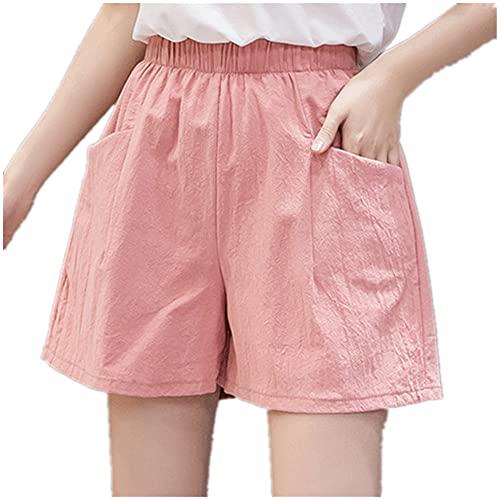 N\P Pantalones cortos de deporte de yoga de las mujeres pantalones cortos casuales de algodón más tamaño cintura media