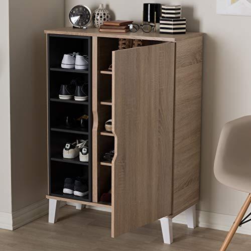 Baxton Studio Adelina Mid-Century Modern 1-door Oak and Grey Wood Shoe Cabinet