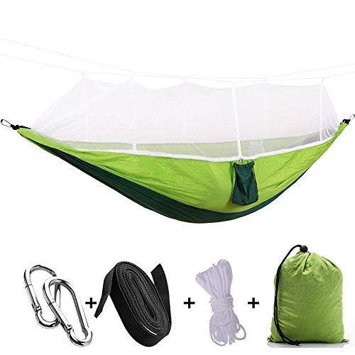 HUANXI LightweightDoubleFolding Hammock with Storage Bag + Strap,300kg Load Capacity (260x140cm) Green Garden Swings For Adults for Outdoor Camping Garden Travel