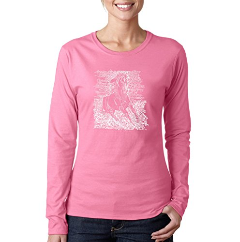 LA POP ART Damen-T-Shirt, langärmelig, beliebte Pferderassen Gr. Large, rose