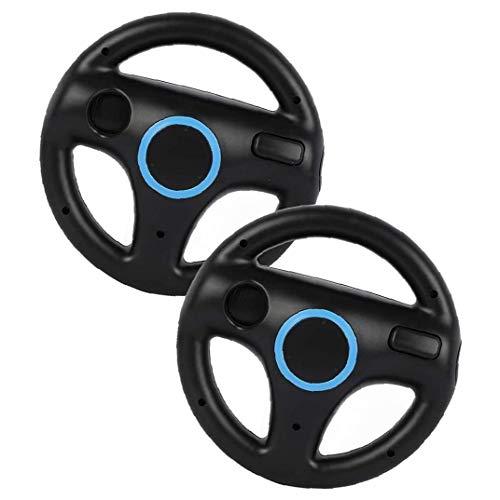 Berrywho Sillas de Ruedas de Carreras Juego de Carreras del Volante Controlador de Wii Wheel Compatible con el Mando de Wii Juego Negro 2 Piezas