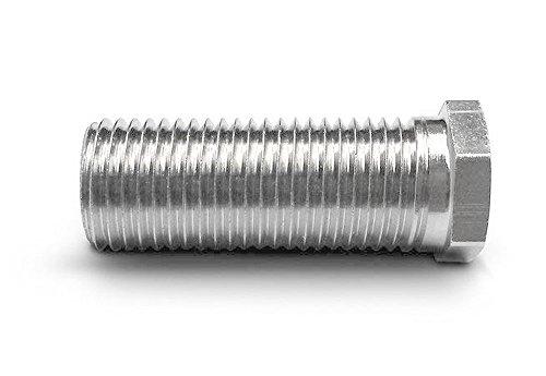 Hohlschraube für Siebkorbventile - universell passend für Ventil-Abläufe der Größen 1,5 und 3,5 Zoll - M12 x 1,5 mm - 35 mm lang