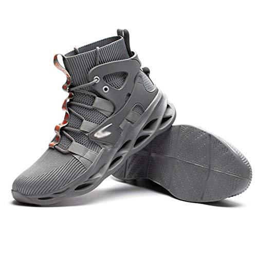 Zapatos de Seguridad Hombre, Los Hombres Ligeros De Los Zapatos De Seguridad Las Mujeres Trabajan Las Zapatillas De Deporte De Las Zapatillas De Deporte De Los Casquillos De La Punta De Acero,Grey-46