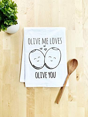 Funny Kitchen Towel, Olive Me Loves Olive You, Flour Sack Dish Towel, Sweet Housewarming Gift, White