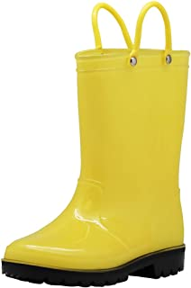 NORTY Waterproof Rubber Rain Boots for Girls & Boys - Toddlers & Big Kids - Solid & Printed Rainboots