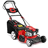 YOLENY Gas Lawn Mower 4-Cycle 173cc OHV 21-Inch Trimming Mower 4-in-1 Rear Wheel Drive Trimmer with 16 Gal Grass Box,8 Adjustable Mower Heights, Adjustable & Foldable Handlebars