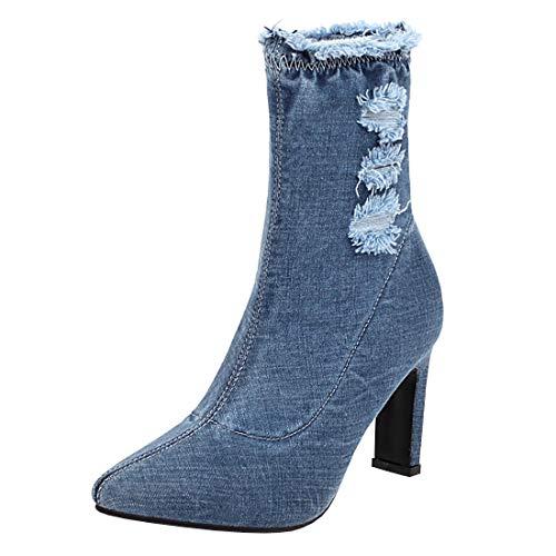Etebella Damen Spitze Stiefeletten mit Blockabsatz Stretch High Heels Denim Ankle Boots Lochmuster Jeans Schuhe(Blau,40)