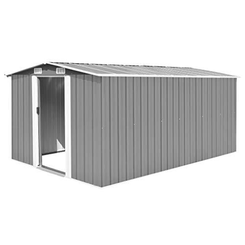 UnfadeMemory Caseta de Almacenamiento de Metal de Jardín,Cobertizo Exterior para Almacenar Herramientas (Gris, 257x398x178cm)
