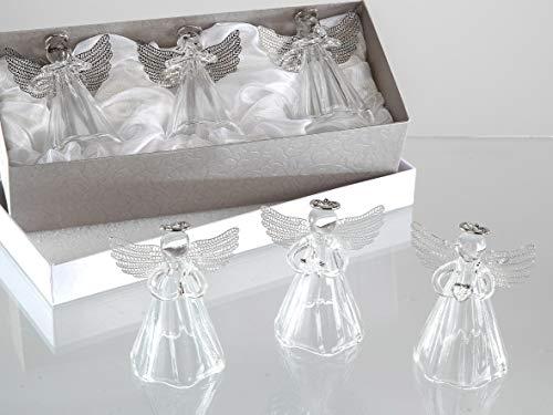 formano 3er Set Glasengel mit Metall Flügeln 8 cm Glas Engel Weihnachtsengel Schutzengel