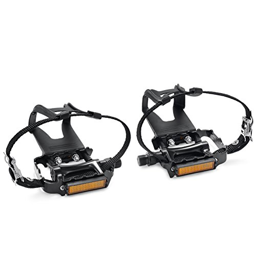 NEWSTY Bike Pedals with Clips and Straps for Outdoor Cycling and...