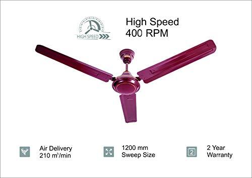 Usha Racer 1200MM Ultra High Speed 400RPM Ceiling Fan Brown W/O REG