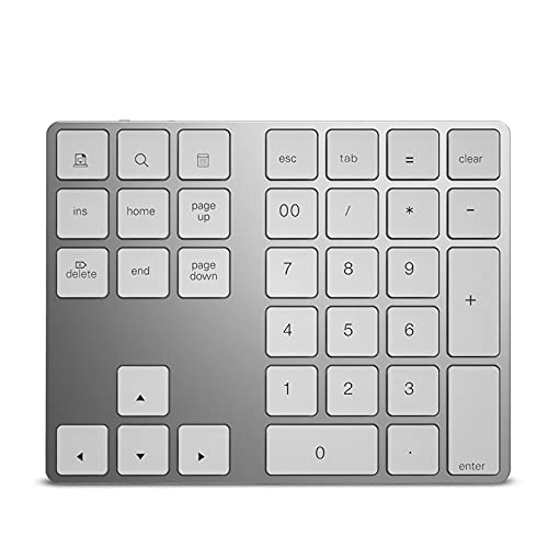 Teclado Numérico Bluetooth Inalámbrico, Teclado De Función HUB USB 3.0, Llaves De Aluminio 34, Adecuadas para Computadoras con Windows/Android,Plata