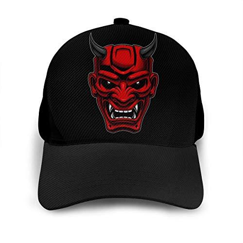 Japanische Dämonenmaske Unisex verstellbare Baseballkappe Hip Hop Caps Dad Hat Black