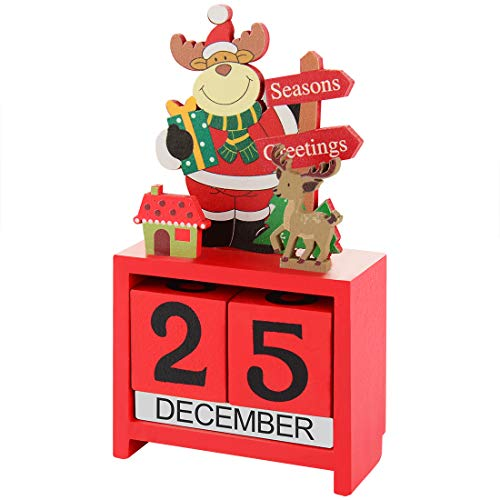 CHRUNONE Christmas Advent Countdown Calendar, Tabletop Wooden Advent Calendar Blocks, Countdown to Christmas for Holiday Home Office Decoration