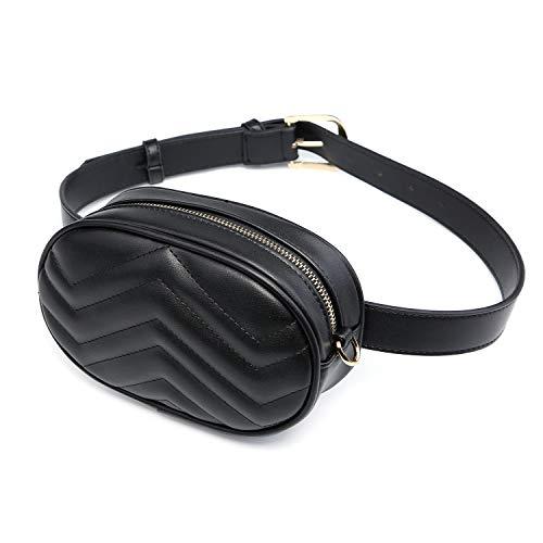 Signice Bauchtasche Gürteltasche Damen Leder Hüfttasche Mode Bum Bag Stylisch Klein Fanny Pack Bauchtaschen für Frauen Schwarz