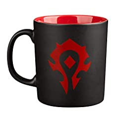 DESIGNED FOR WORLD OF WARCRAFT VIDEO GAME FANS - Features matte black exterior with red interior; red Horde crest on one side; gloss black World of Warcraft on opposite side PERFECT BREW - Great for a drink in your own kitchen at home or hanging out ...