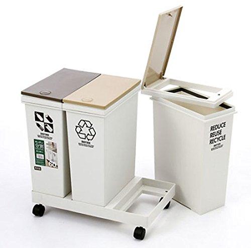 アスベル資源ゴミ横型3分別ワゴン各20Lベージュ6720