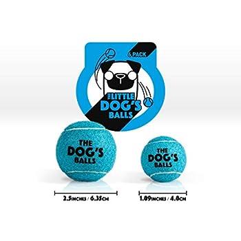 The Little Dog's Balls Lot de 6 balles de tennis pour chien Bleu Taille S