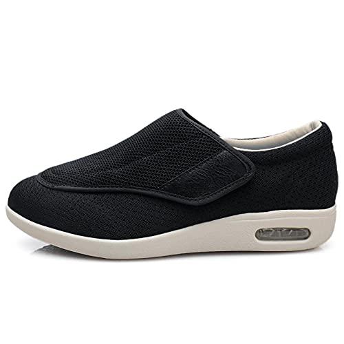 CCSSWW Zapatillas DiabéTicas Ajustables,Zapatos DiabéTicos para Hombre Ajustable-Negro_39,Ajustables para HinchazóN del Pie, Artritis,