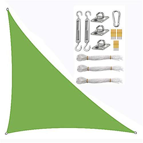 Triángulo de vela de sombra, vela con juego de fijación, toldo de protección solar, tela Oxford impermeable, anti-UV (6 × 6 × 6 m, verde)