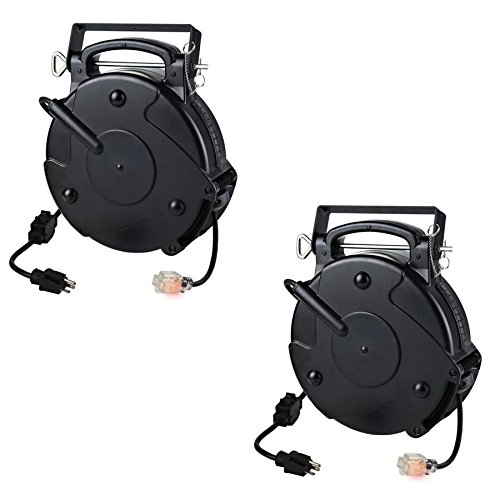 Case of 2 Heavy Duty 12/3 45 Foot 20 Amp Single Tap Industrial Retractable Extension Cord Reel 8645TFI