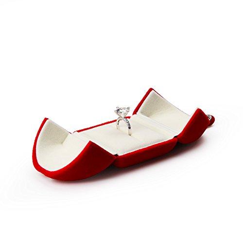 Oirlv Caja de terciopelo rojo para regalo de propuesta/compromiso/boda